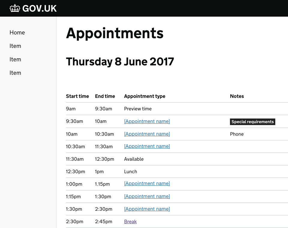 Screenshot of an app view to display the day's appointments