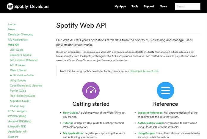 Screenshot: The homepage of Spotify's API documentation.