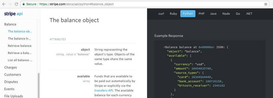 Screenshot: A specific section of the Stripe API documents with the location bar showing that the URL has changed.
