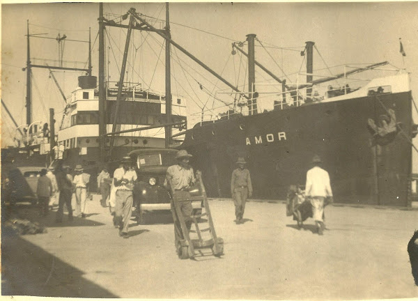 A photograph of a ship called SS Amor, taken by the author's grandfather in the West Indies in 1939.