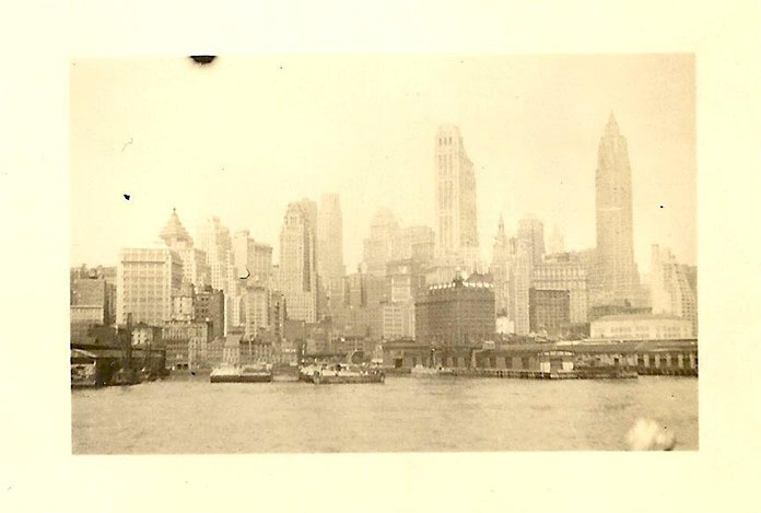 A photograph of the New York City skyline, taken by the author's grandfather, probably in the 1930s.