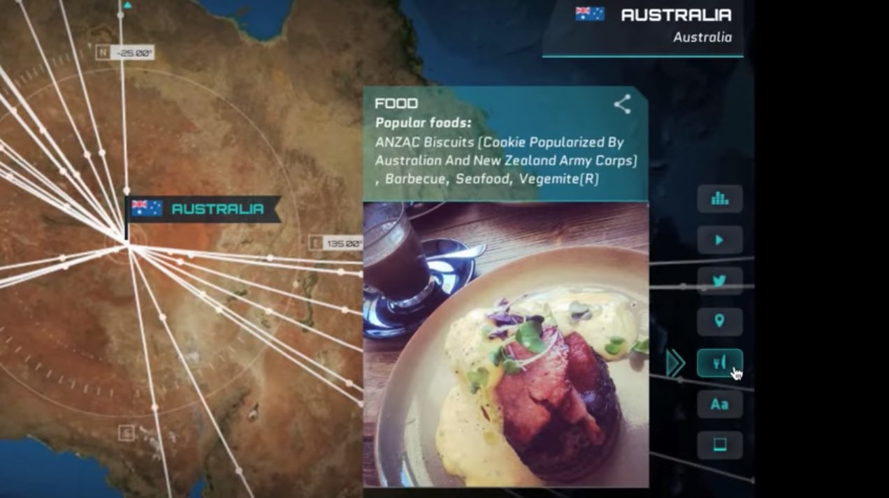 Image of the National Geographic Channel's Live From Space second-screen experience, including an Instagram photo of an Australian repast.