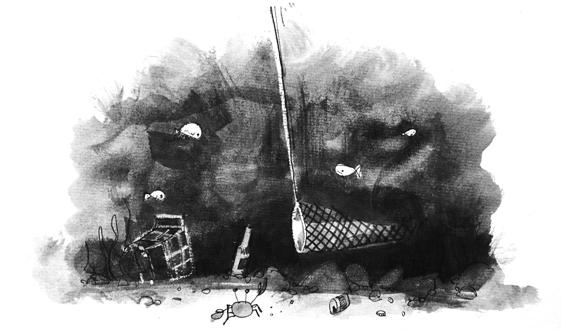 Illustration: A net skims the sea floor trawling for only the tastiest treats. Trash lurks all around it, threatening to snag on it.