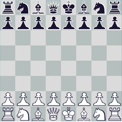 Standard chessboard in starting configuration
