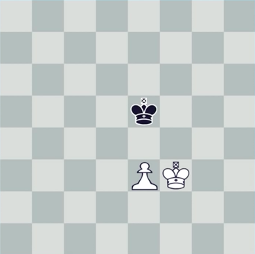 Chessboard showing only three pieces