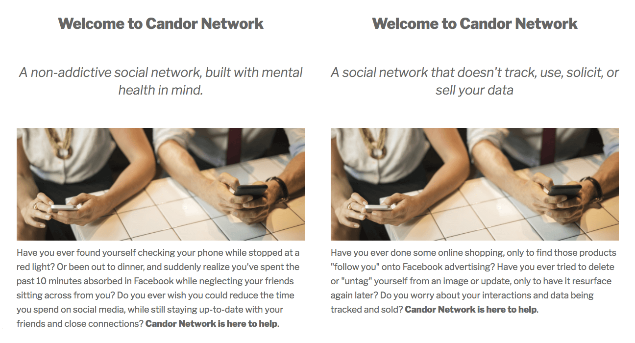 Two screenshots of a Candor Network landing page with different copy