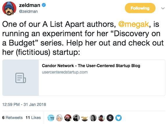 A screenshot of a Tweet from Jeffrey Zeldman promoting Meg's experiment