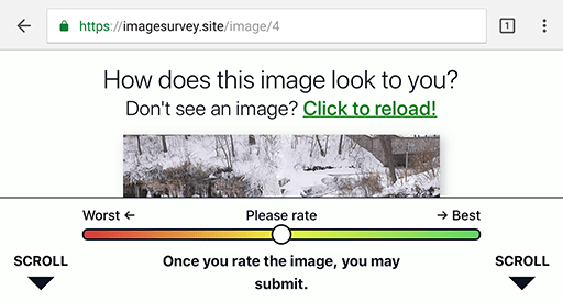 "The survey with the clipped image, but now there is a downward-pointing arrow with the word ""Scroll""."