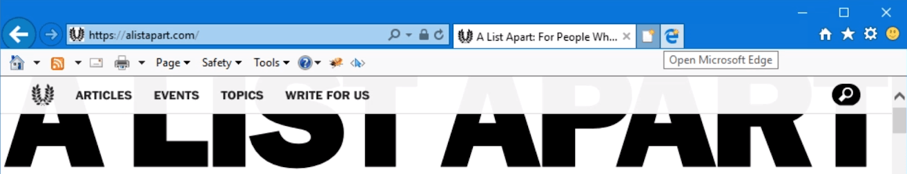 A screenshot of the A List Apart masthead open in Internet Explorer 11, showing the ever-present Internet Explorer button that reads Open Microsoft Edge.