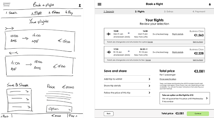 A sketched out wireframe, and one designed with software