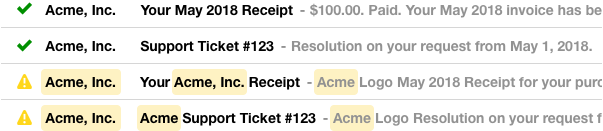 Screenshot of two emails where the subject line and preview repeat the name of the company (which is also in the To field)