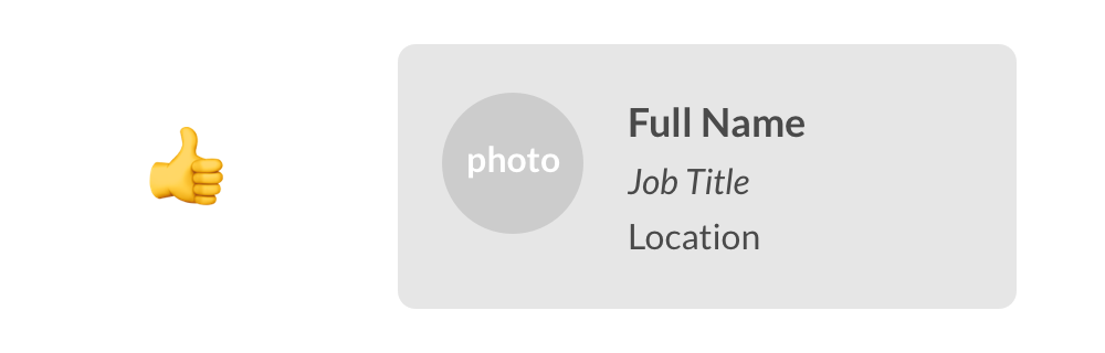 A content placeholder card, with spaces for full name, job title, and location