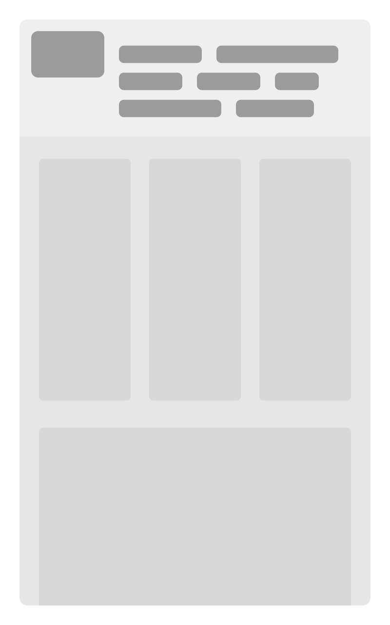 Wireframe showing a desktop design squished to mobile size