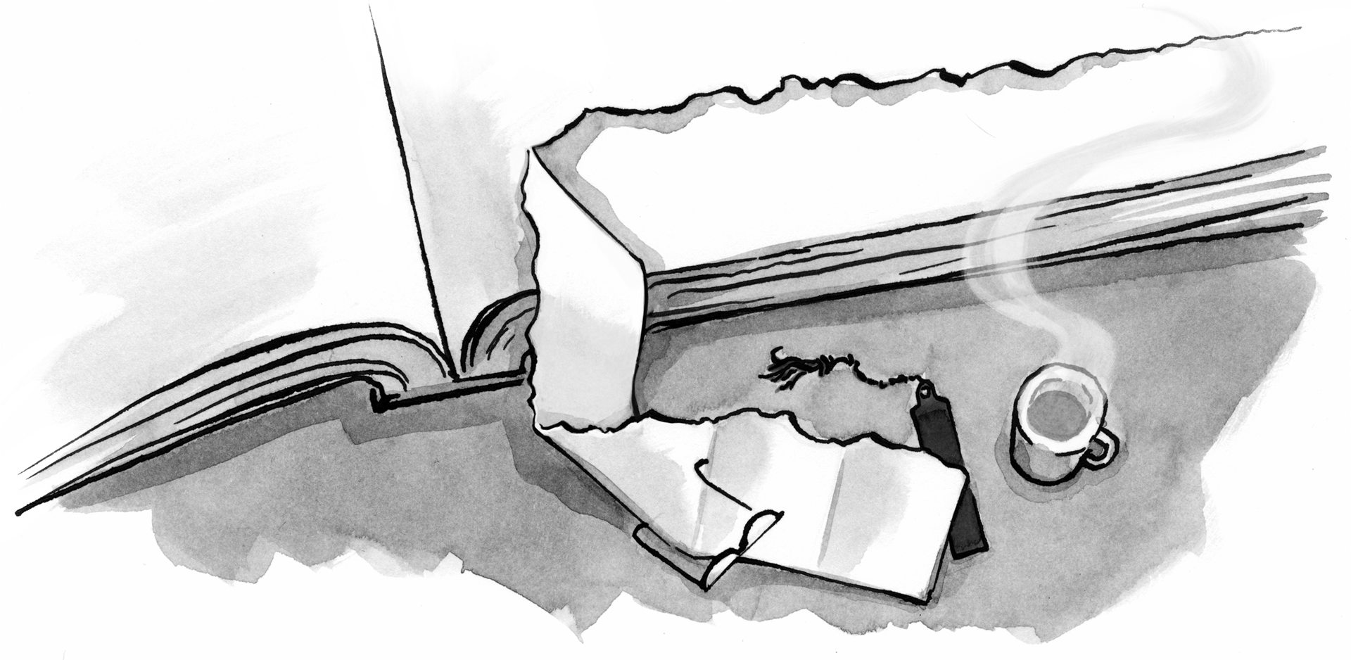 Illustration: A small piece of paper is torn from a very large book with some glasses, a bookmark, and a steaming mug of something delicious nearby.