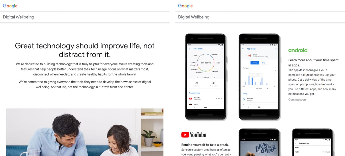 Google's Digital Wellbeing initiative website details how they're helping users spend less time staring at screens.