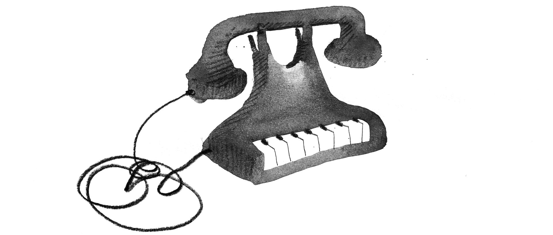 Illustration: An antique telephone holds a corded handset aloft in it cradle above piano keys where a number pad or rotary dial would normally sit.