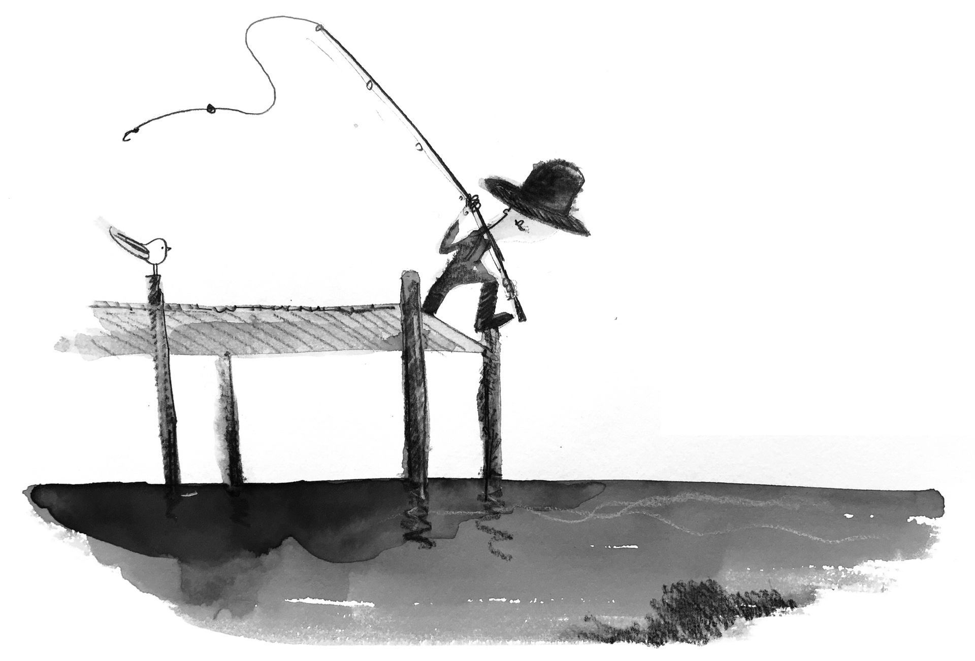 Illustration of a fisherman casting his line off of a pier