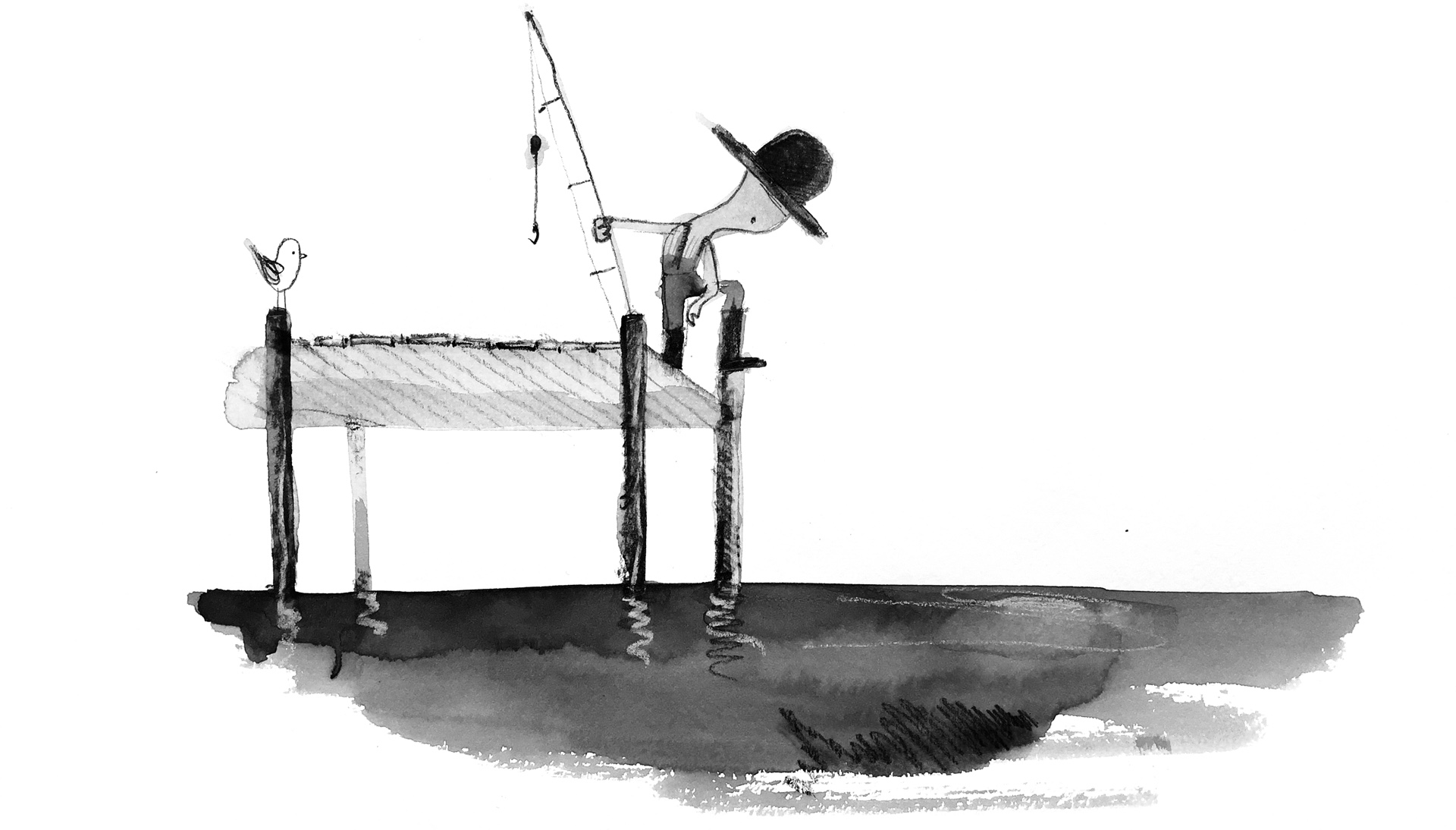 Illustration of a young fisherman looking down at the water from a pier, holding a fishing pole