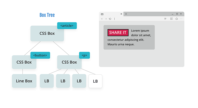 Diagram of a box tree with a CSS box for an article with two branches: a CSS box for a button floated left and a CSS box for a paragraph. The paragraph has now been parsed and broken into four lines, and there are four line boxes in the diagram to show this.
