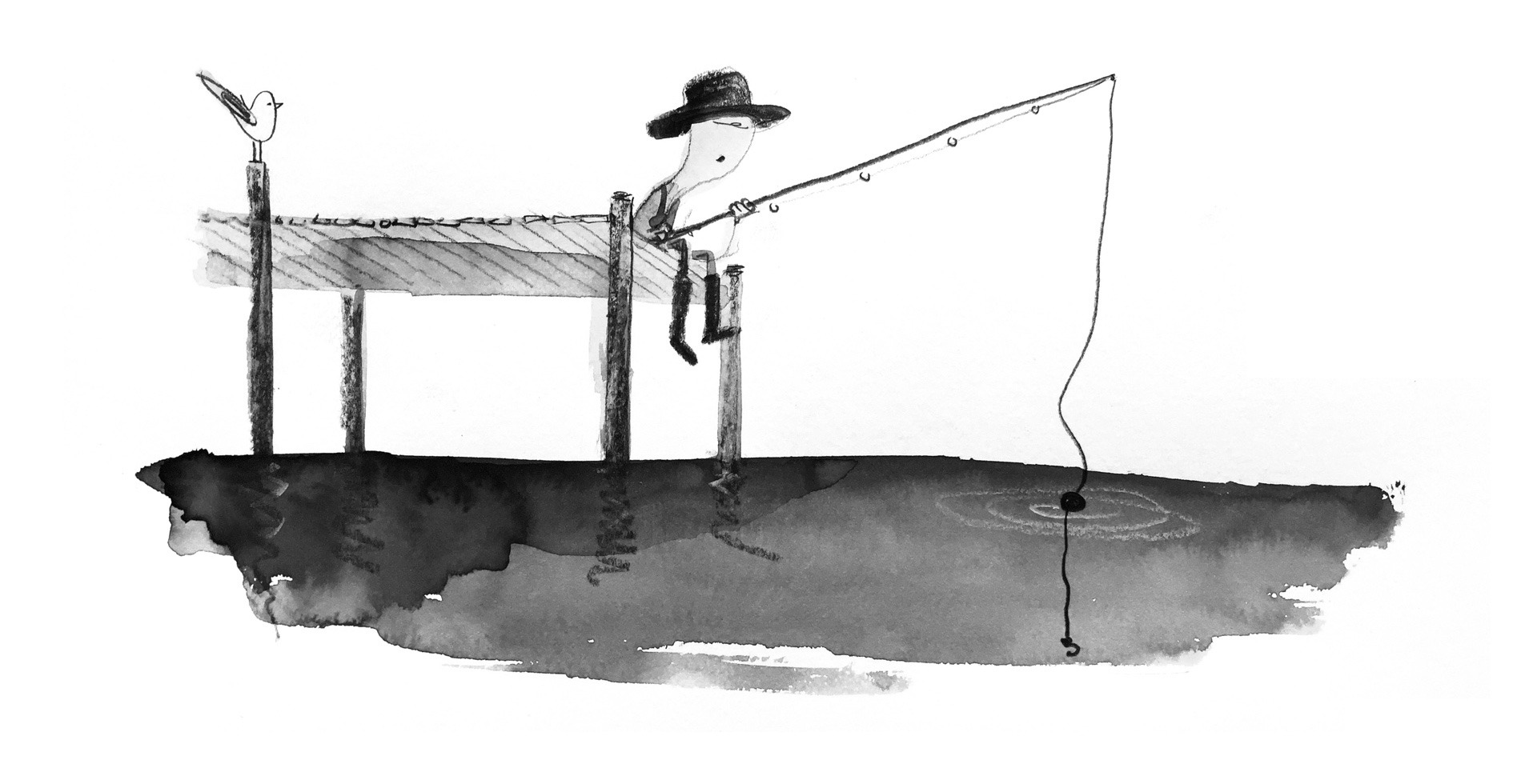 Illustration of a man fishing off of a pier