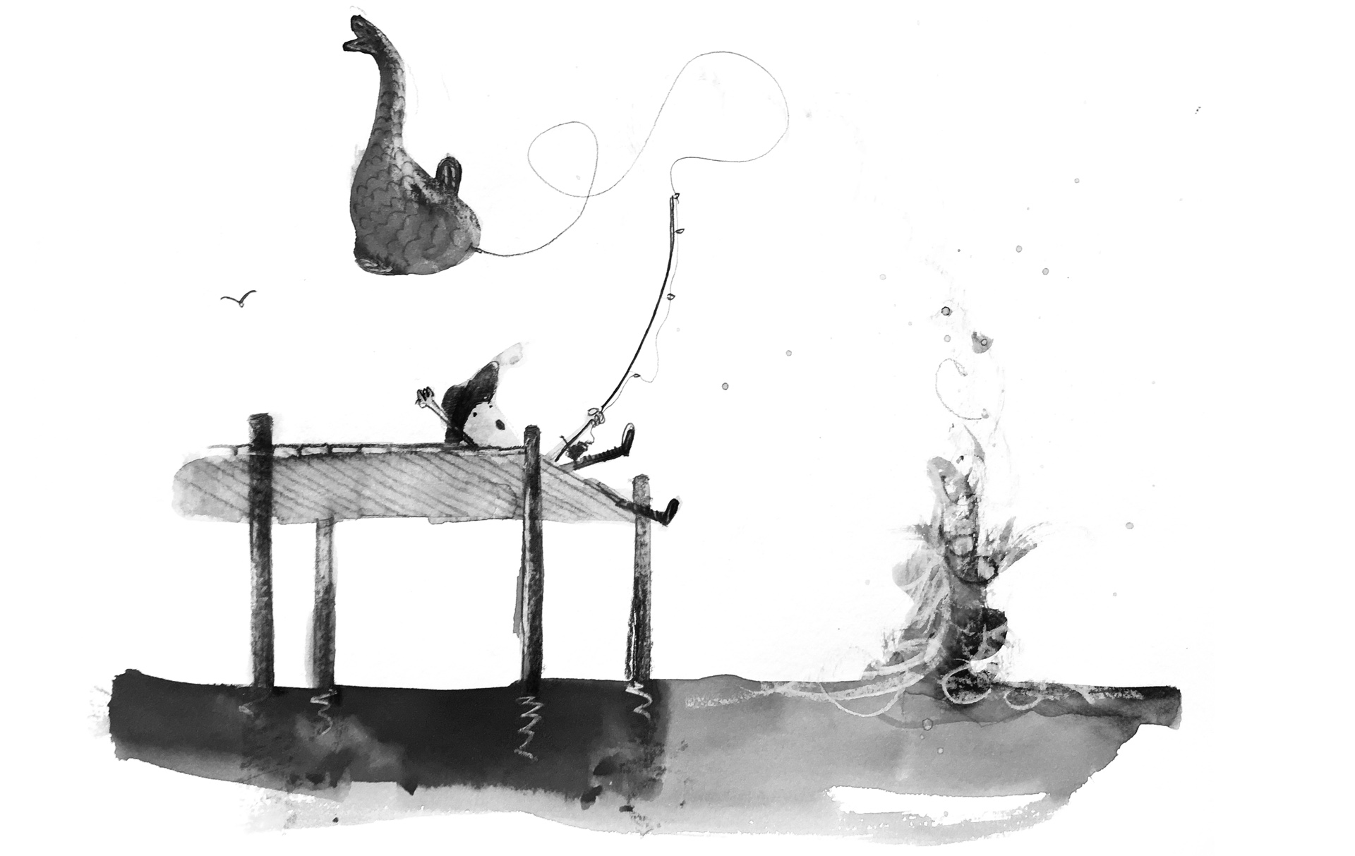An illustration of a man fishing from a pier, yanking an enormous fish out of the water