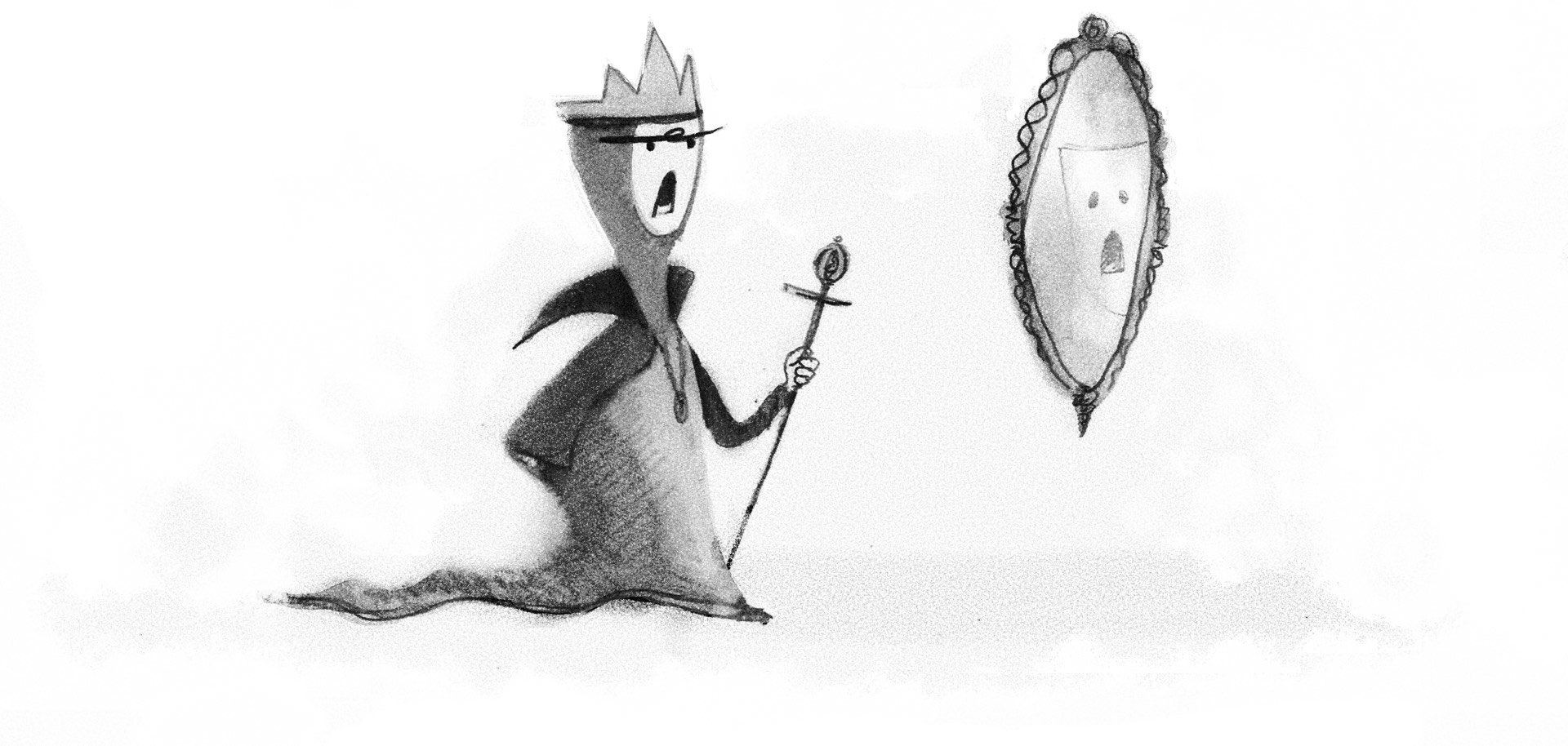 Illustration: The evil queen consults her magic mirror, who gives answers just for her.