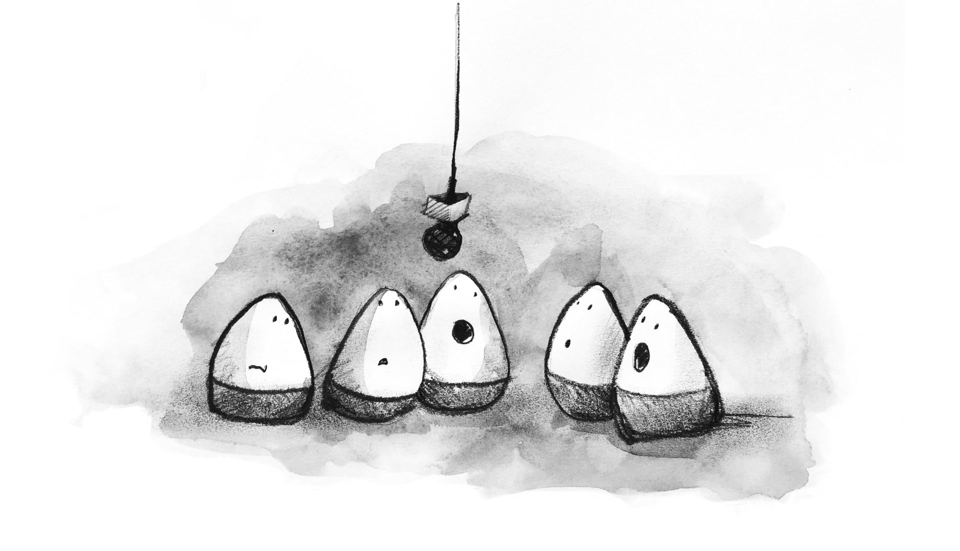 A quintet of HTML 'eggs' singing in front of a microphone