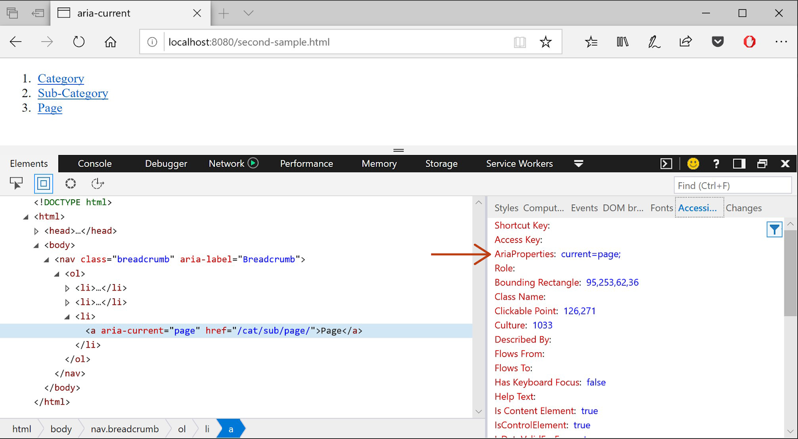 Screenshot showing the Microsoft Edge tools inspecting an input element with the Accessibility Tree panel open, where the input's AriaProperties attribute now has a value of current=page