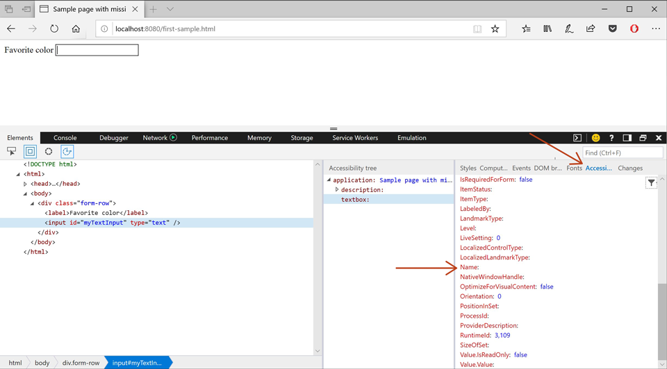 Screenshot showing the Microsoft Edge tools inspecting an input element with the Accessibility Tree panel open