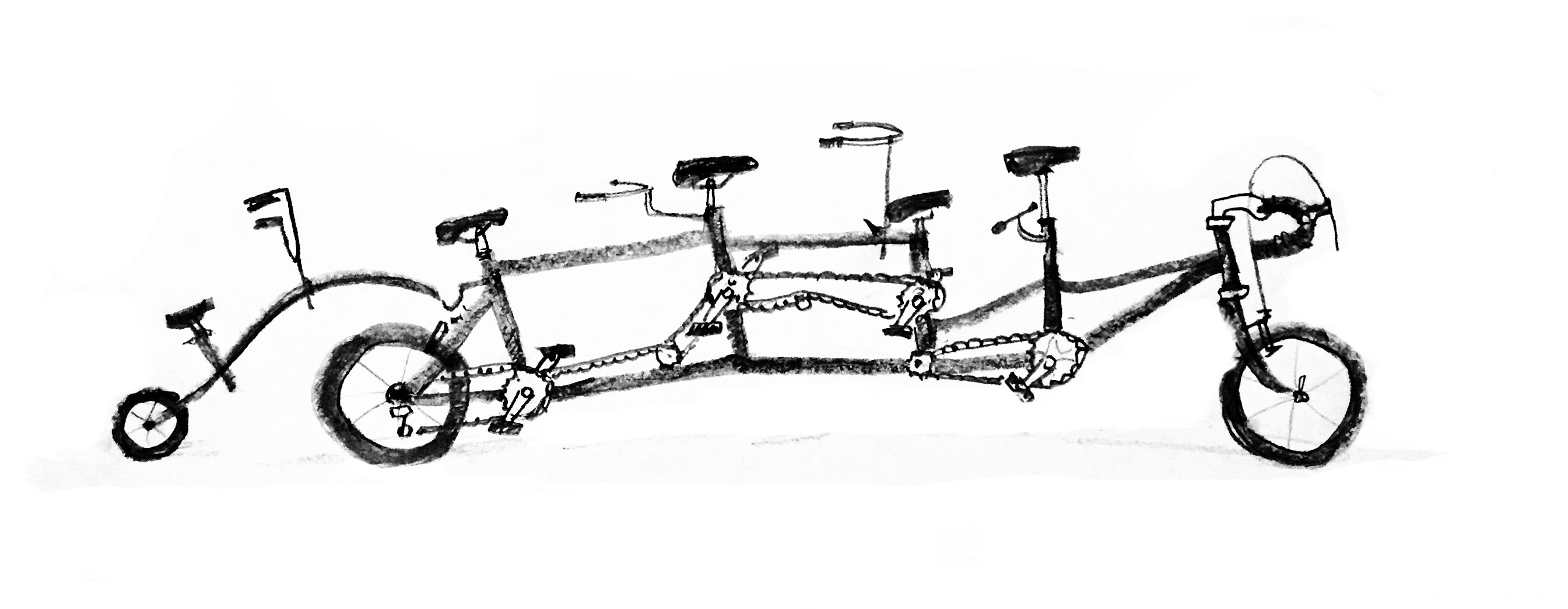 A bicycle built for five people of differing sizes