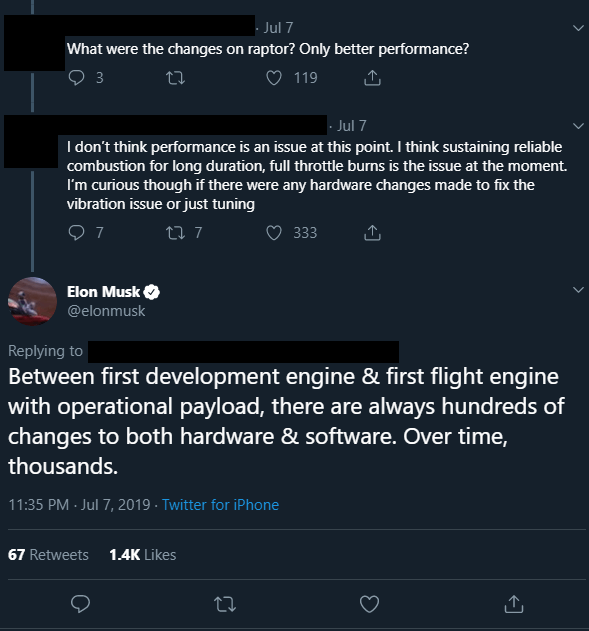 Twitter thread showing an exchange between Elon Musk and a user