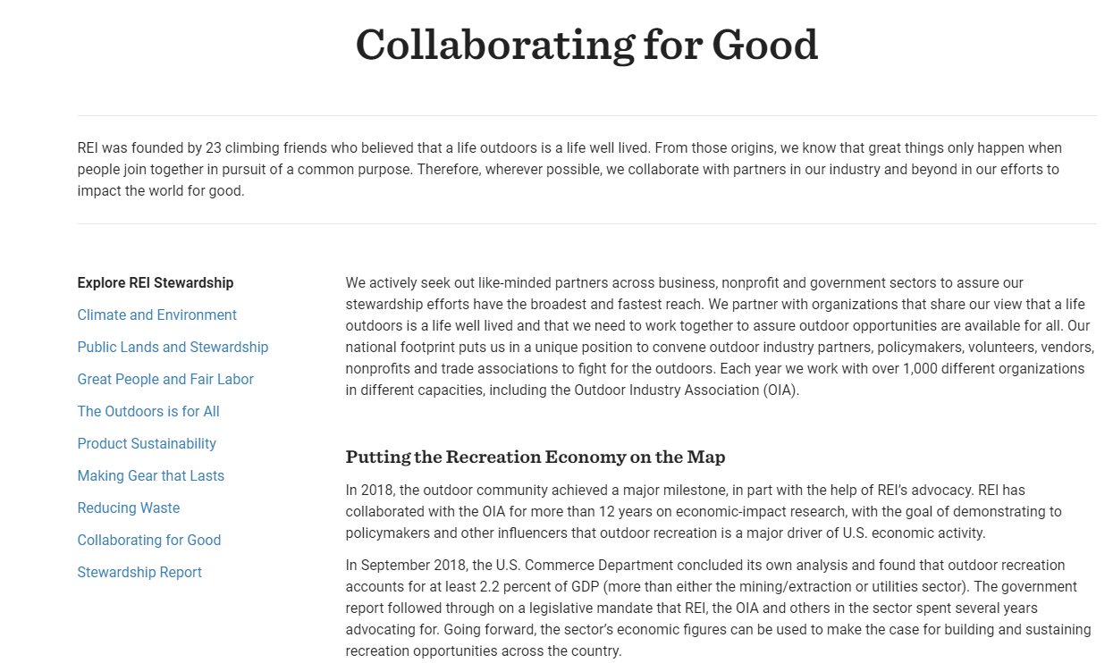 Screenshot of the Collaborating for Good website