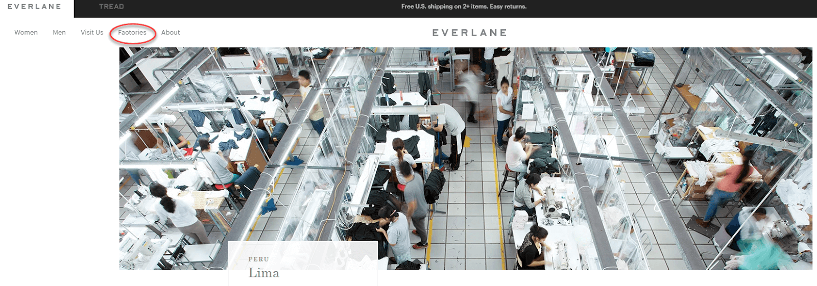 Screenshot of Everlane's page about the factory in Lima