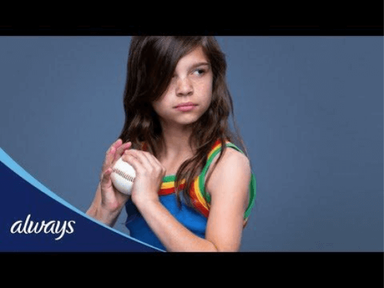 An Always ad portraying a determined girl holding a baseball