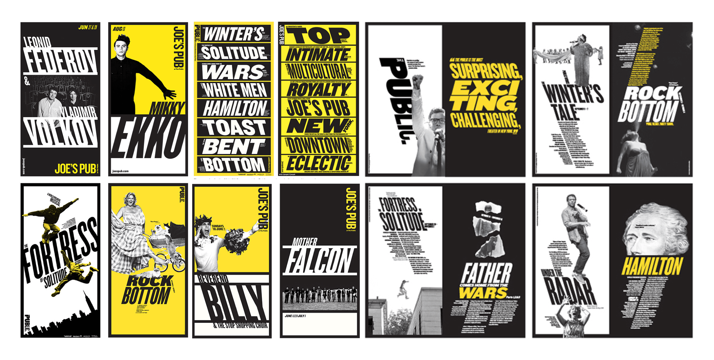 Sixteen Public Theater posters in black, white, and yellow, with slanted wood type letterforms and high-contrast images of people.