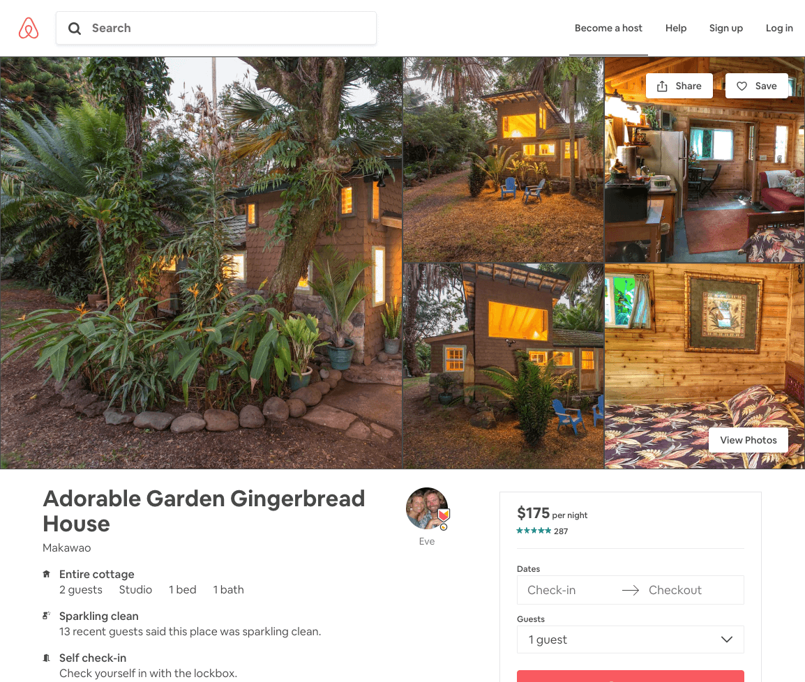 Screenshot of AirBnB's standard listing