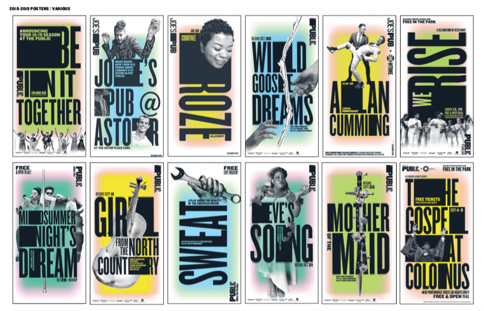 Twelve Public Theater posters using black, white, and pastel colors with wood type letterforms and softer images of people.