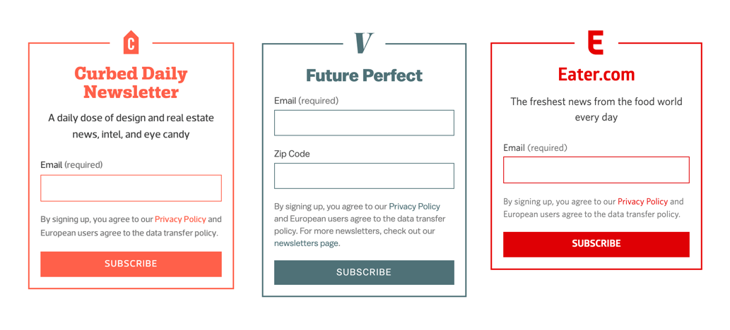 Three examples of newsletter modules, showing the same colors, fonts, and spacing.