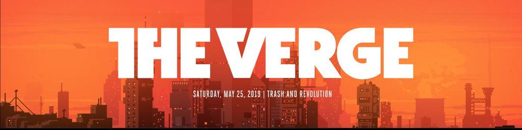 Example of the Verge's masthead component with a city skyline in orange tones.