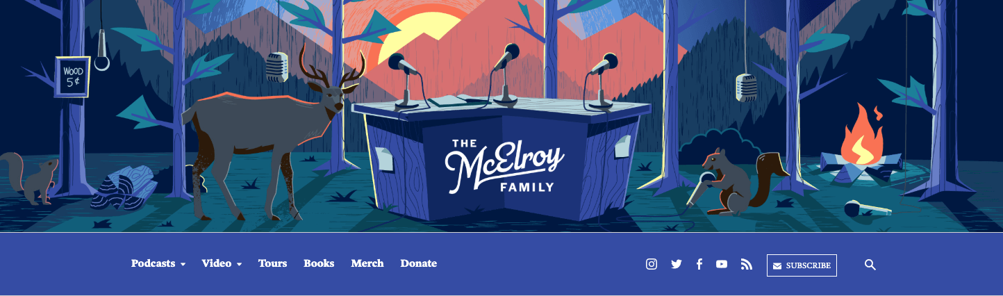 The masthead component for the McElroy Family, showing a blue navigation bar and a pastel illustration of a forest.