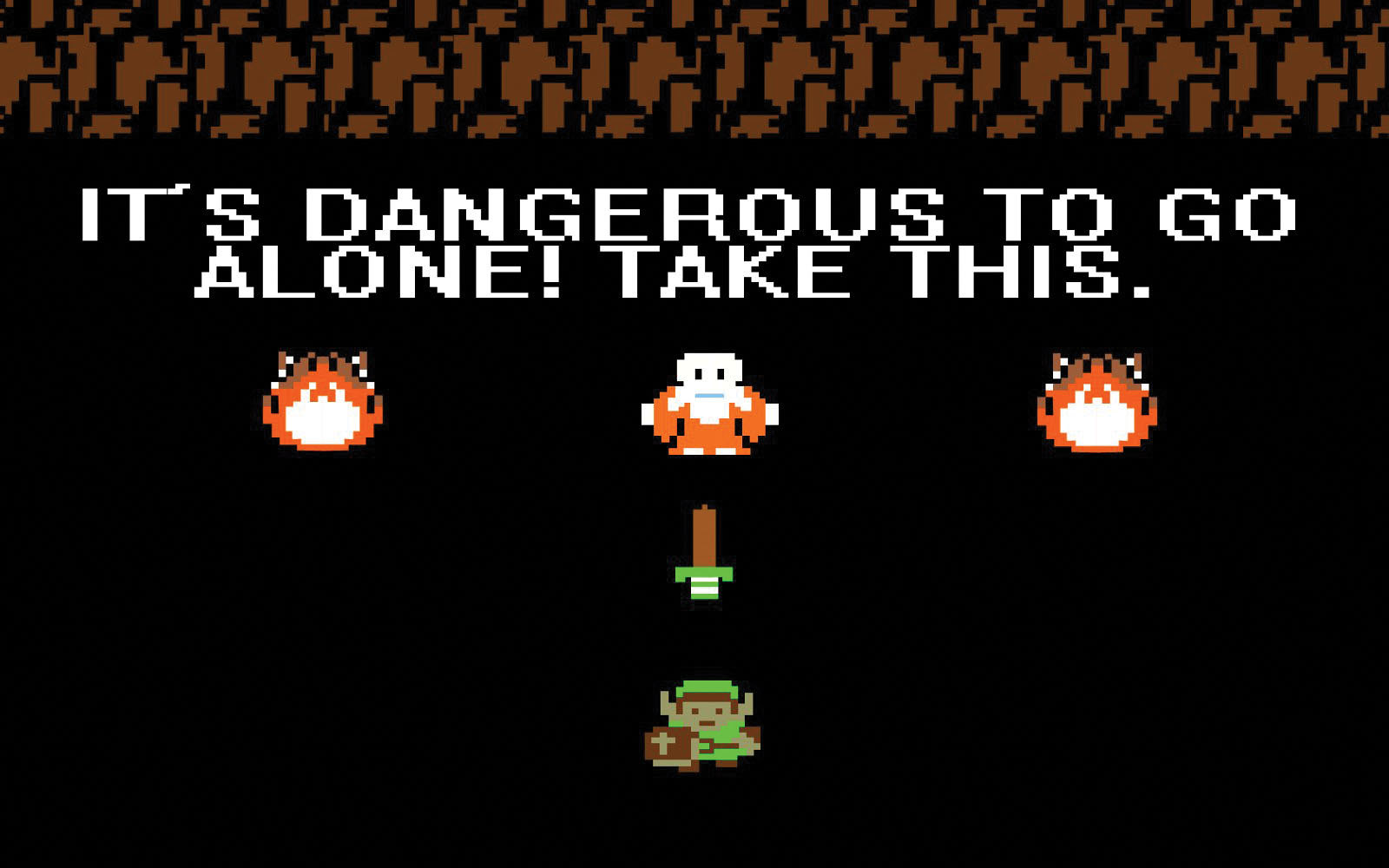 A screen from The Legend of Zelda where Link receives his sword from an old man saying 'It's Dangerous To Go Alone! Take This.'