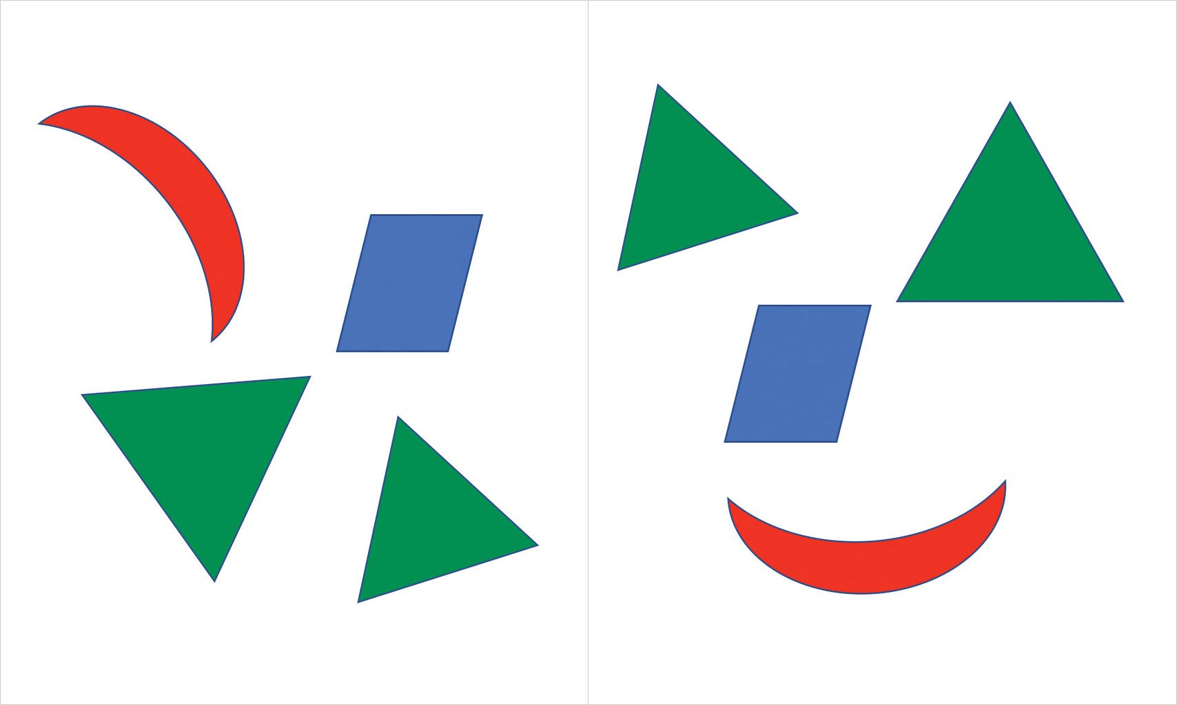 An assortment of the same four shapes side by side. The grouping on the right looks like a face based on the shape positions.