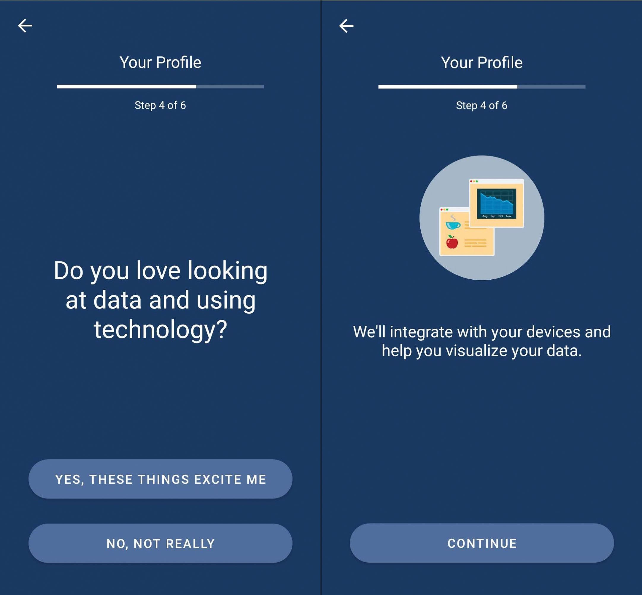 Screenshots of the LoseIt app showing it asking whether a user enjoys looking at data and using technology then acknowledging their choice.