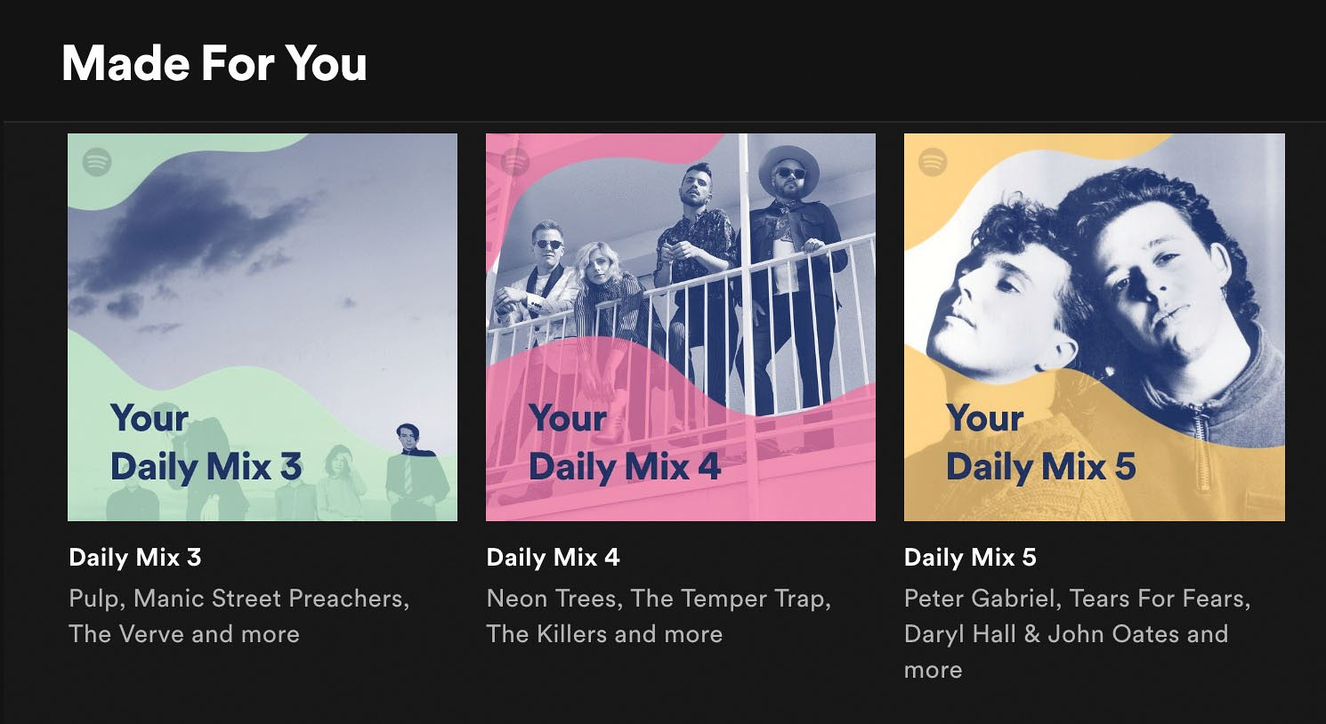 Spotify's Daily Mixes showcasing three distinct sets of musical styles based on the user's listening habits.