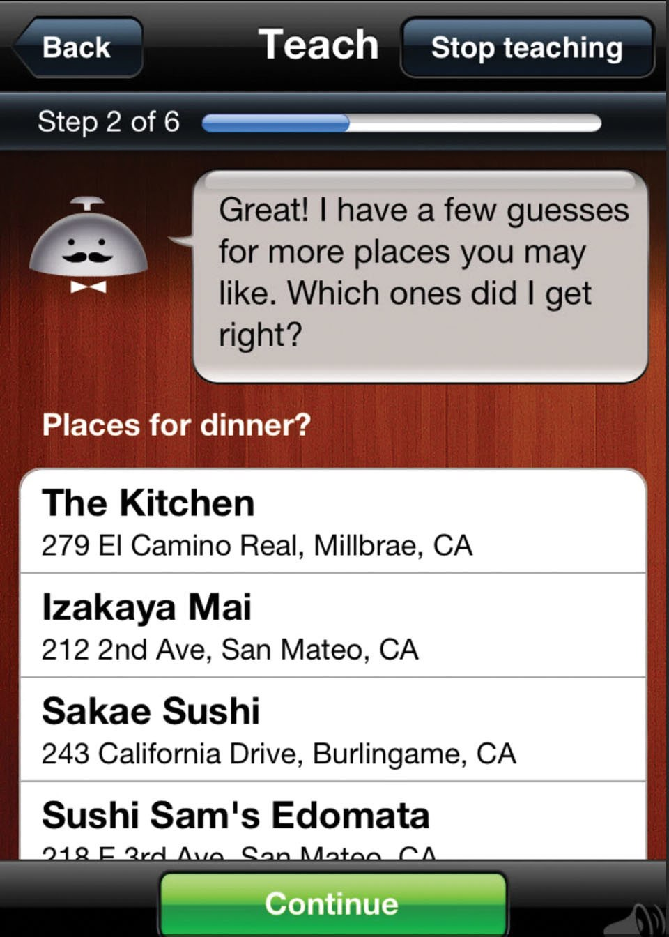 The Alfred app takes a guess at places the user might enjoy for dinner and asks if any of them are right.