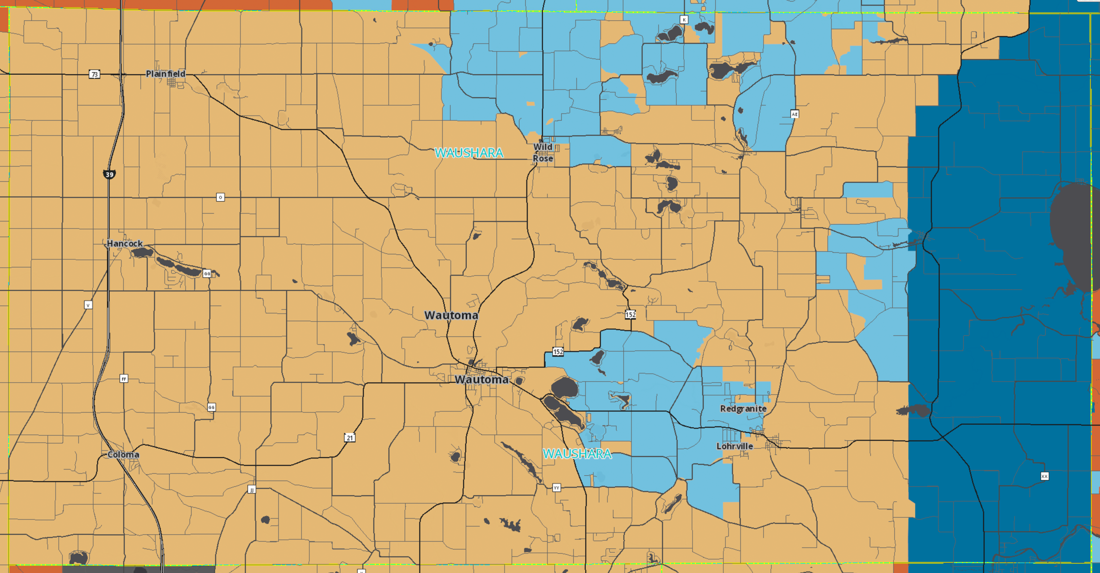 A screenshot of a wireless coverage map for Waushara County, Wisconsin with a color overlay. Most of the overlay is colored tan, which represents areas of the county which have downlink speeds between 3 and 9.99 megabits per second. There are sparse light blue and dark blue areas which indicate faster service, but are far from being the majority of the county.