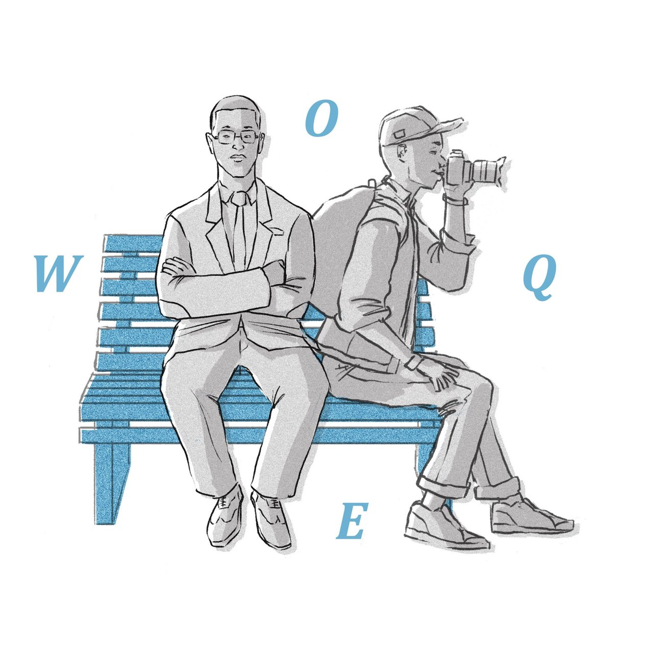 Two people sit on a bench, one in a suit with arms crossed and the other wearing a backpack while looking through a camera. The letters WOQE surround them.