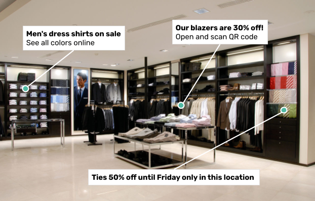 Examples of locational content might include links to more detailed information online, coupons, and sales relevant to merchandise or objects near the person viewing it.
