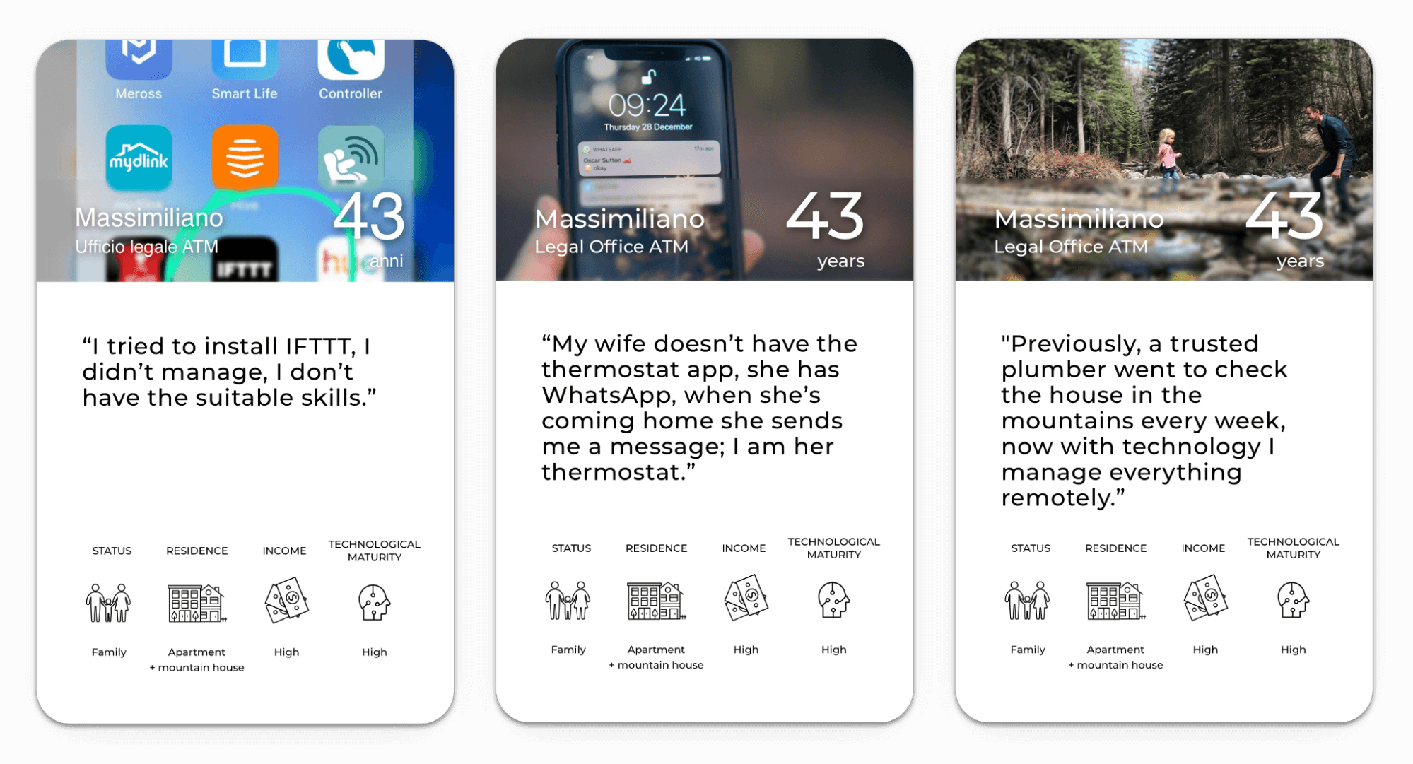 Three cards, each showing a different lifestyle photo, a quote that correlates to that dynamic self's attitude about technology, and some basic demographic info