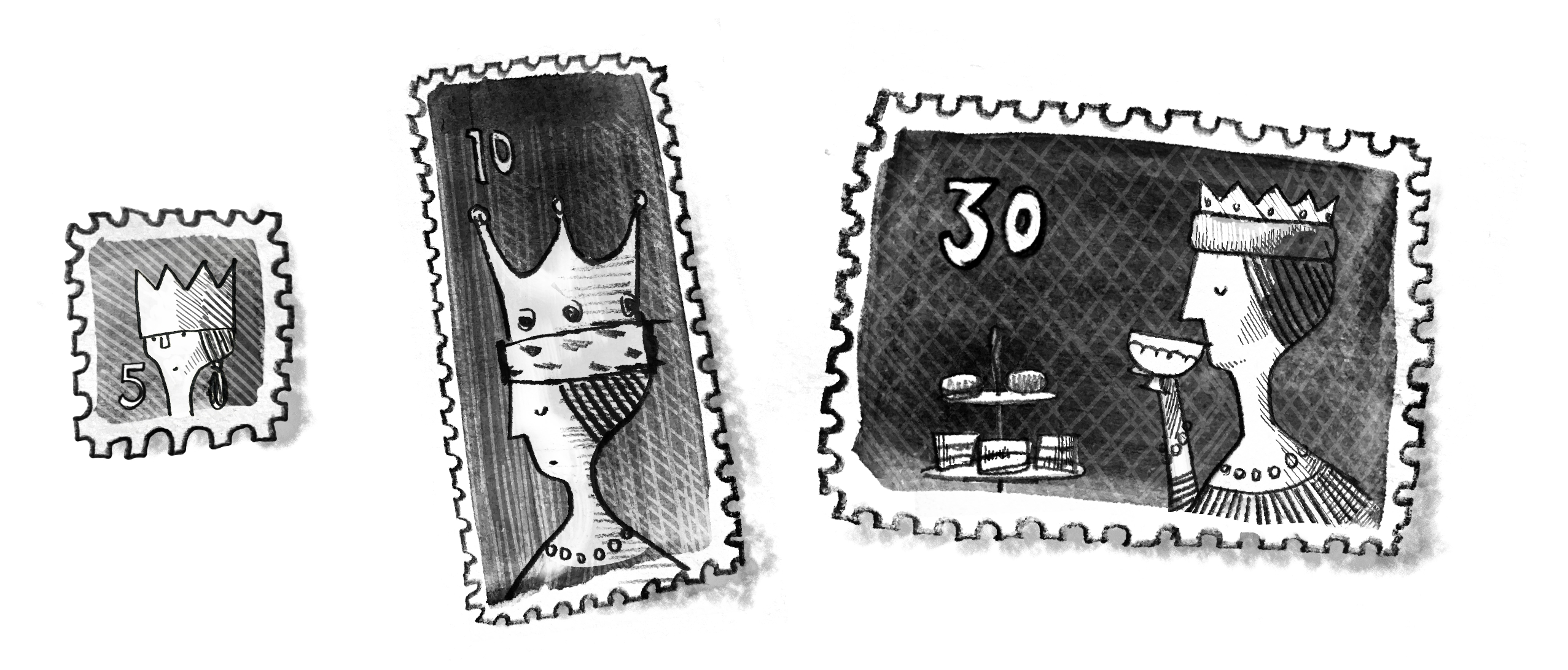 A series of stamps, each showing a queen with additional things in the periphery based on different aspect ratios of the stamps.